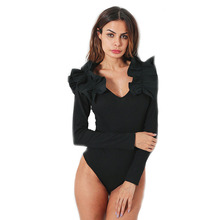 2018 Women Autumn Winter Bodysuit Sexy V Neck Club Slim Jumpsuit Bodycon Ruffles Lace Black Romper Patchwork Playsuit(China)