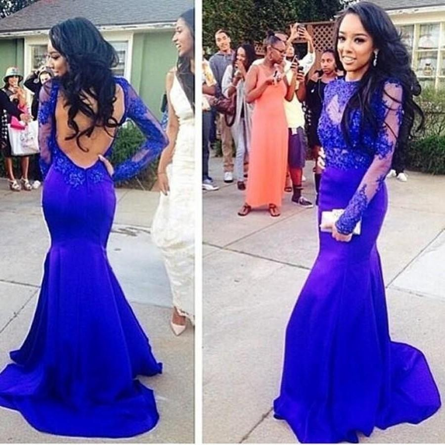 Long Sleeve Open Back Royal Blue Mermaid Gown Promotion-Shop for ...