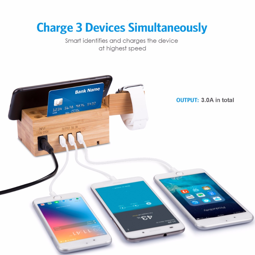 cell phone charger dock with watch holder desk bamboo wood charging rh aliexpress com
