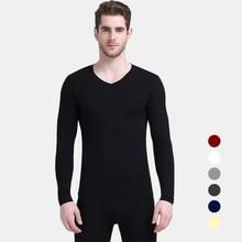 2020 New arrive Winter Men 2Pcs/ set Cotton Thermal Underwear Set Warm Solid color V-neck L