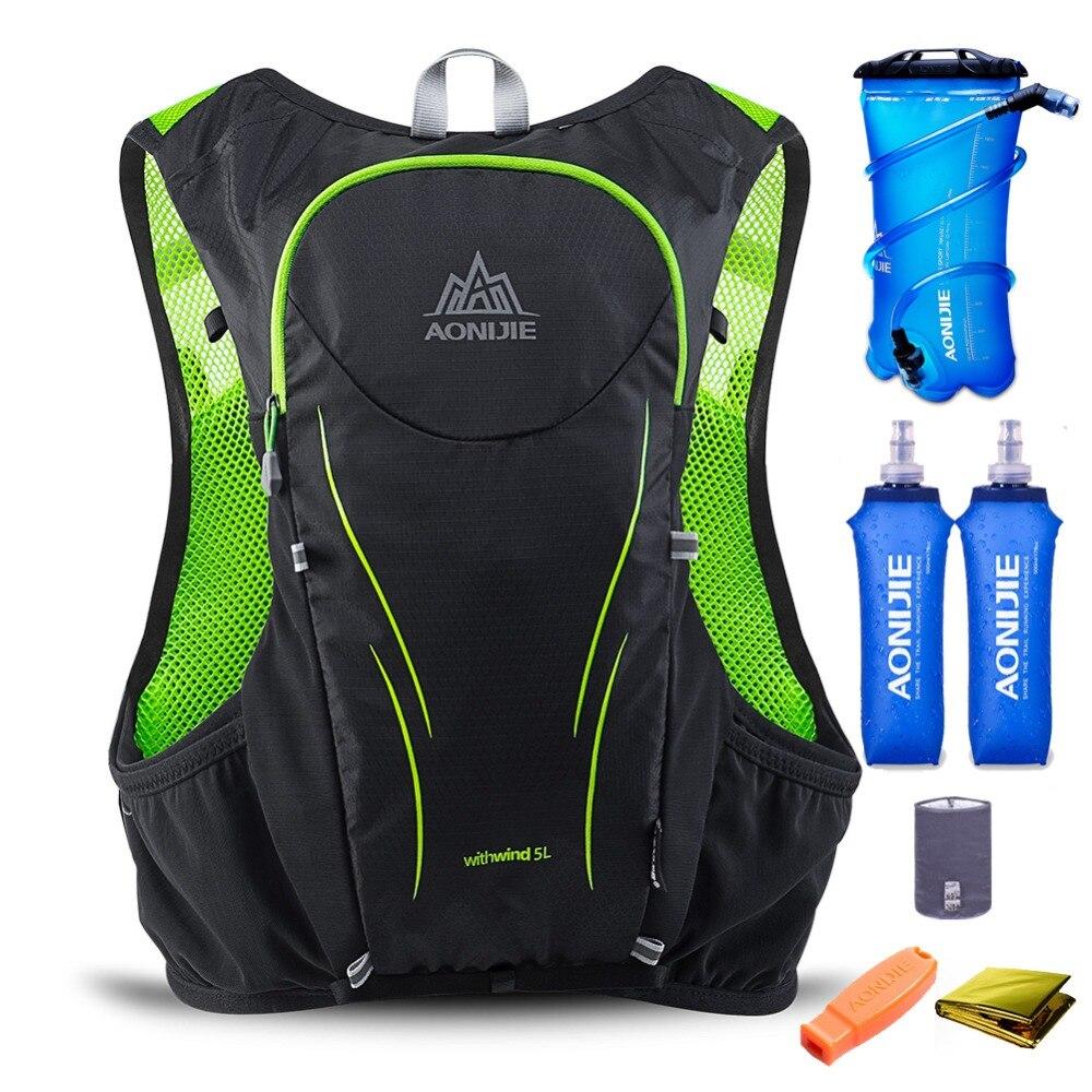 купить AONIJIE 5L Men Women Trail Running Hydration Backpack Hiking Racing Camping Pack Marathon Rucksack 2L Water Bag 2 500ML Bottles недорого