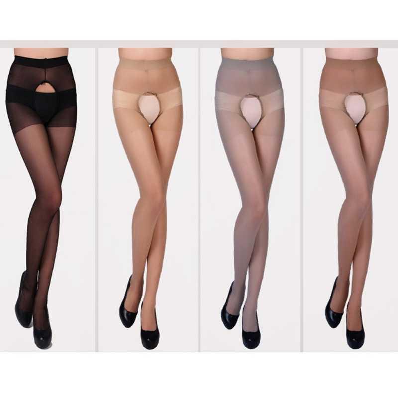 Kobiety Sexy cienki wysokie pończochy otwarte krocza bez krocza Sheer rajstopy skarpetki
