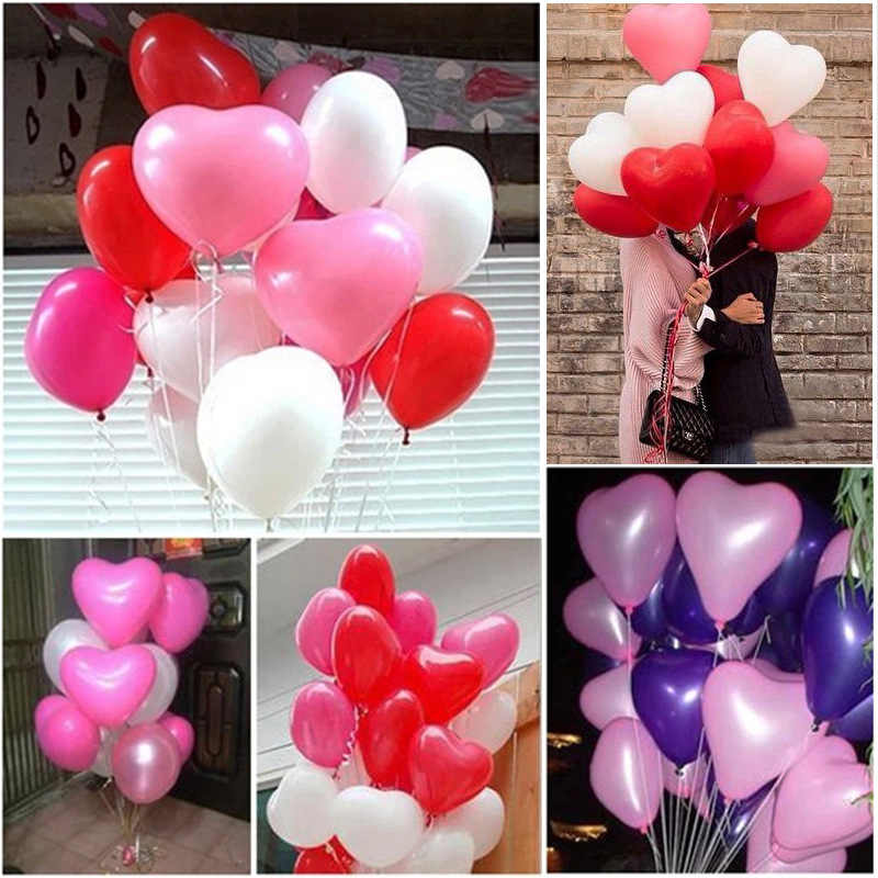 10pcs 12inch 2.2g White Pink Heart Balloons Wedding Decoration Latex Balloon Birthday Party Decorations Kids Air Balls Float Toy