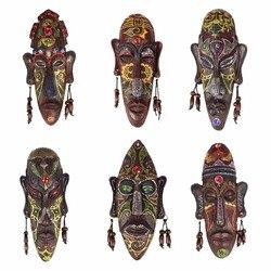 2 pçs zakka 3d criativo resina artesanato retro decoração presente máscaras africanas para casa sala de estar barra parede pendurado decoração metope