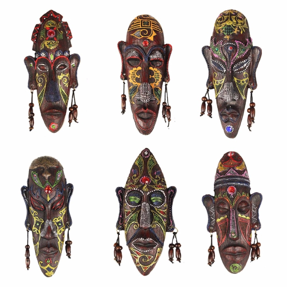 2pcs Zakka 3D Creative Resin Crafts Retro Decoration Gift African Masks For Home Sitting Room Bar Wall Hanging Decoration Metope