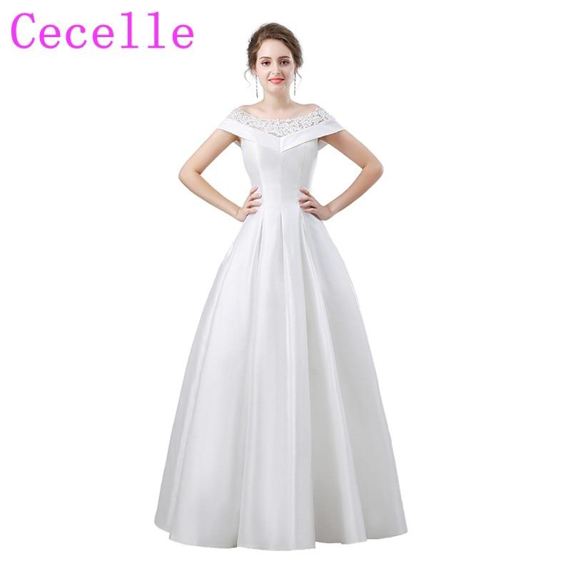 Informal Wedding Gowns: Simple Satin Vintage Wedding Dresses 2019 Off The Shoulder