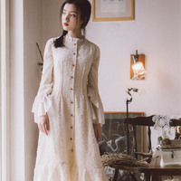 2019 autumn new chiffion dress female long sleeve embroidery cotton dress vintage style solid white flare sleeve dress gx1582