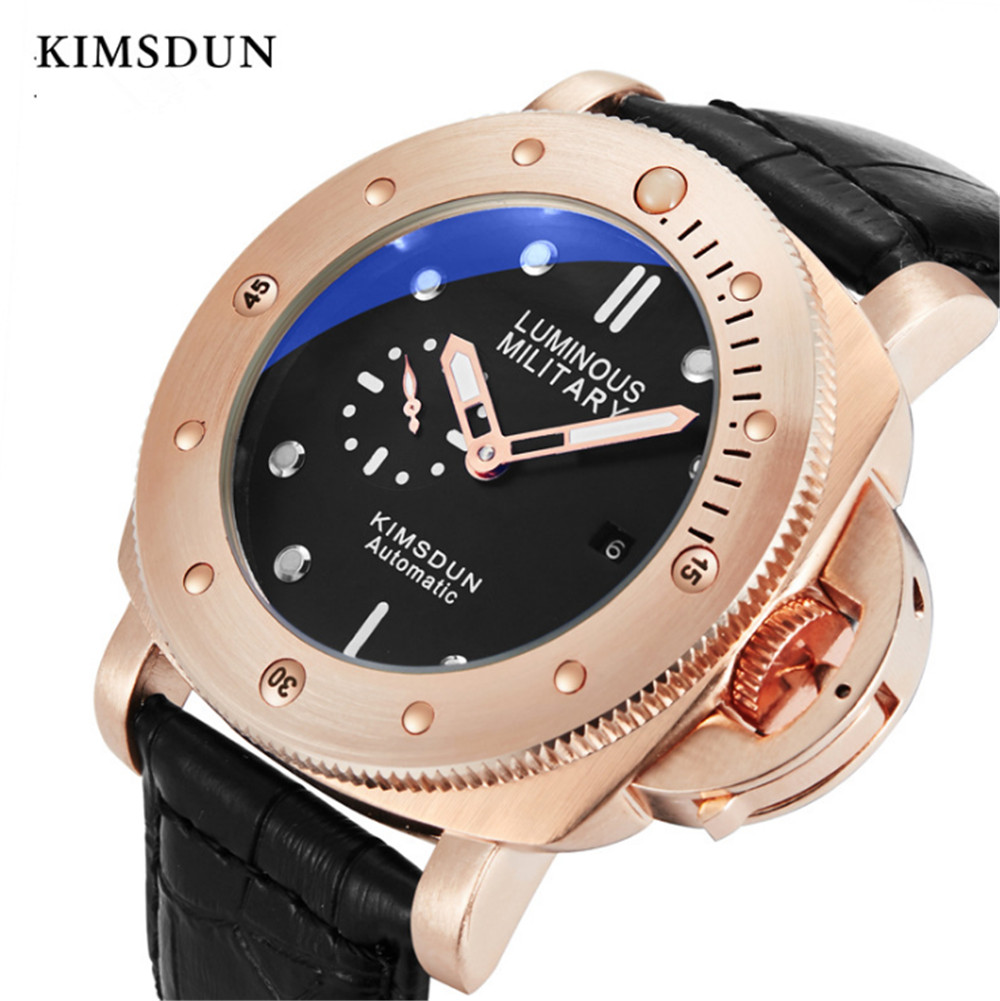 Mens Watches Top Brand Luxury KIMSDUN Sport Mens Leather Watch band Automatic Self Wind Mechanical Watch Wristwatch|Mechanical Watches| |  - title=