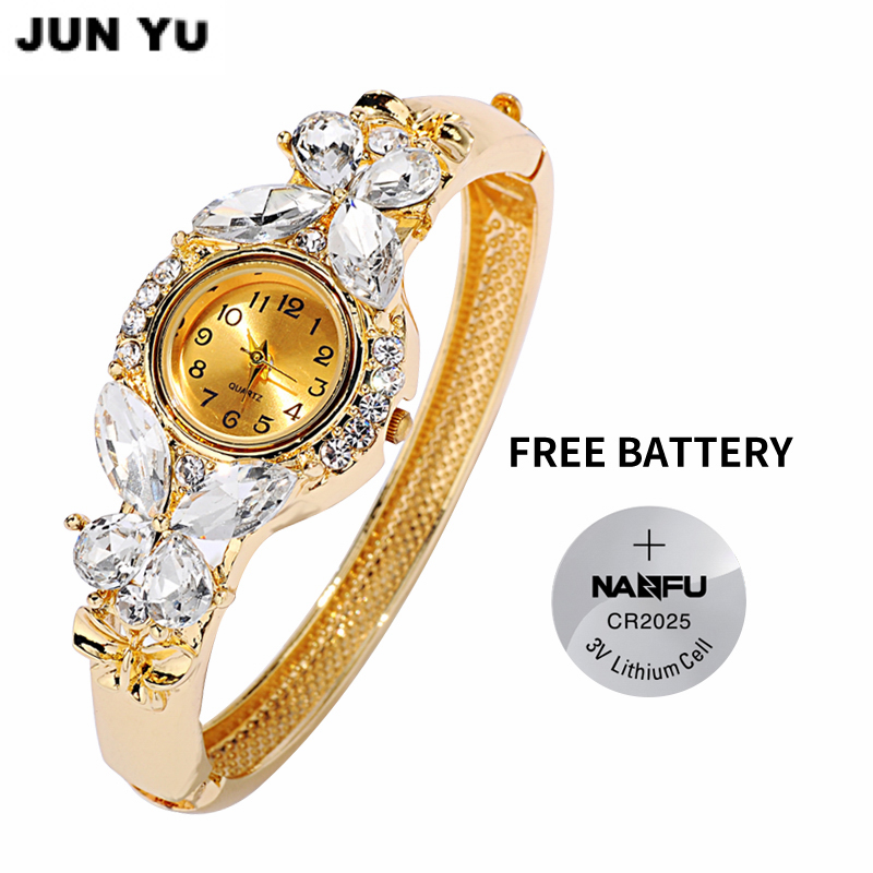 JUNYU Moda Altın Saatler Bilezik İzle Kadınlar Kelebek Taş Klasik - Kadın Saatler - Fotoğraf 1