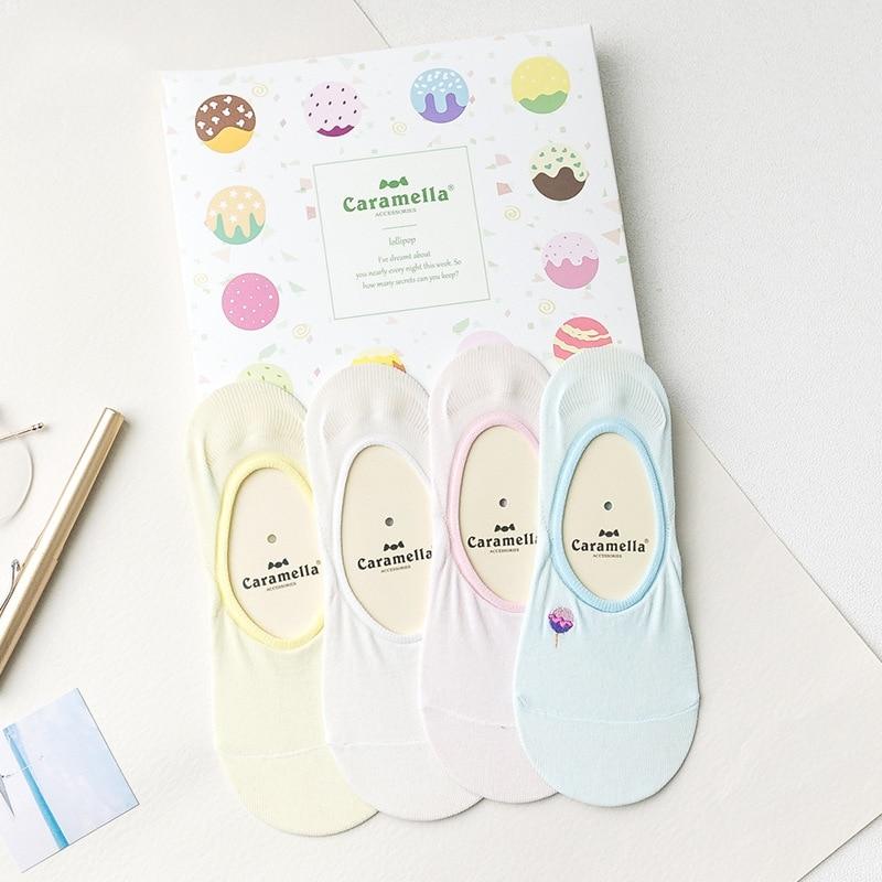 women socks high quality 2018 socks gift box spring 4 pair korea cotton  candy cut solid color women fashion socks for women-in Socks from Underwear  ... 1f9398938f