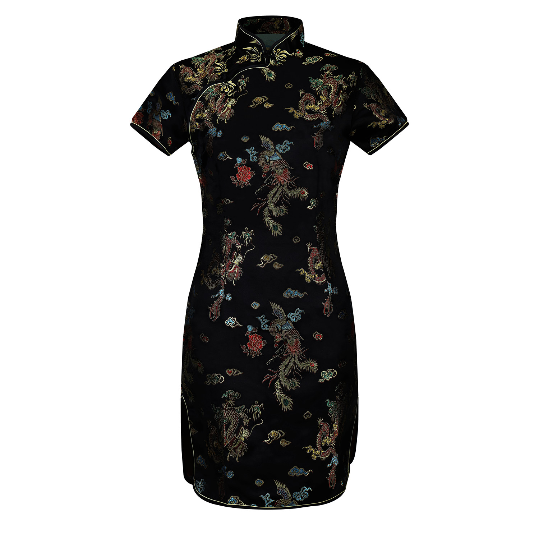 Lady Vintage Dragon&Phoenix Short Qipao Elegant Women Cheongsam Mandarin Collar Sexy Mini Chinese Dress Vestidos Oversize 6XL