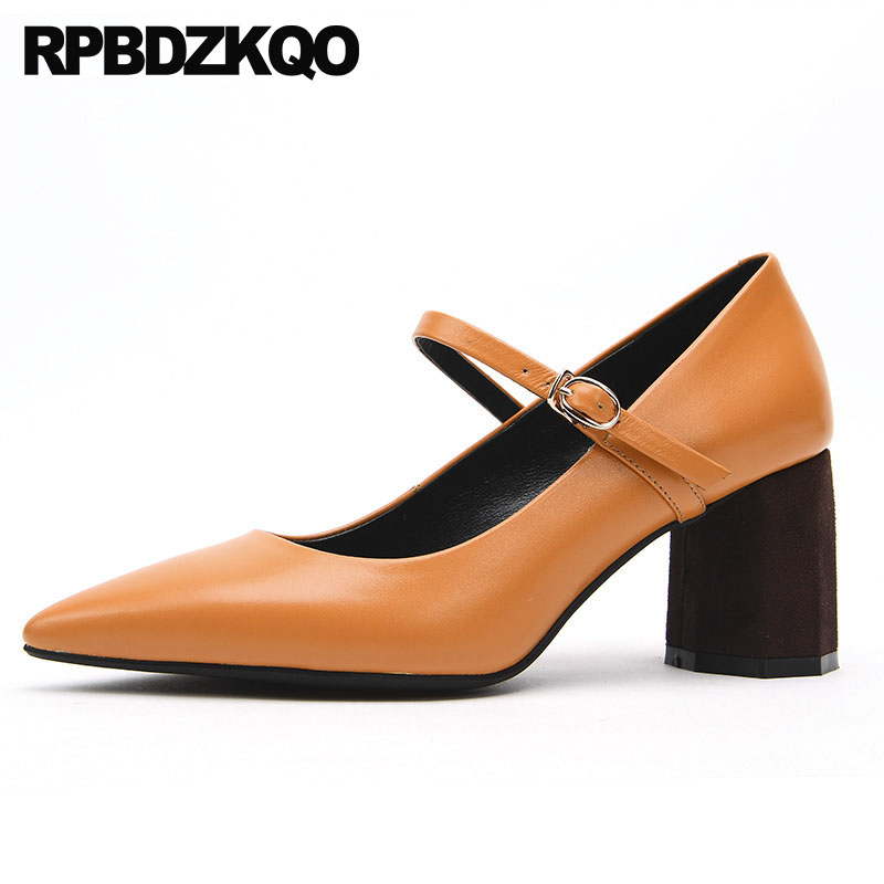 3 Inch Strap Block Women Mary Jane Genuine Leather Pointed Toe Orange Pumps Shoes Retro 2018 Size 4 34 Belts High Heels Japanese цена