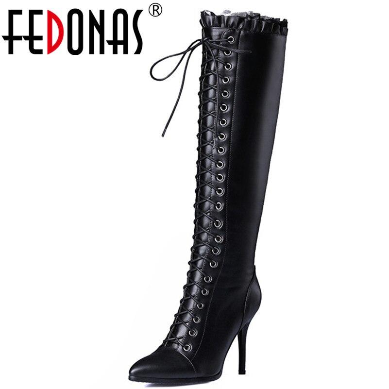 100% Wahr Fedonas Mode Marke Echtem Leder Ritter Stiefel Frauen Corss-gebunden Warm Langen Hohen Schnee Schuhe Frau Prom Night Club Pumpen