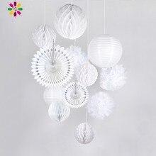 Elegant White Wedding Decoration Set 12pcs Honeycomb Balls P