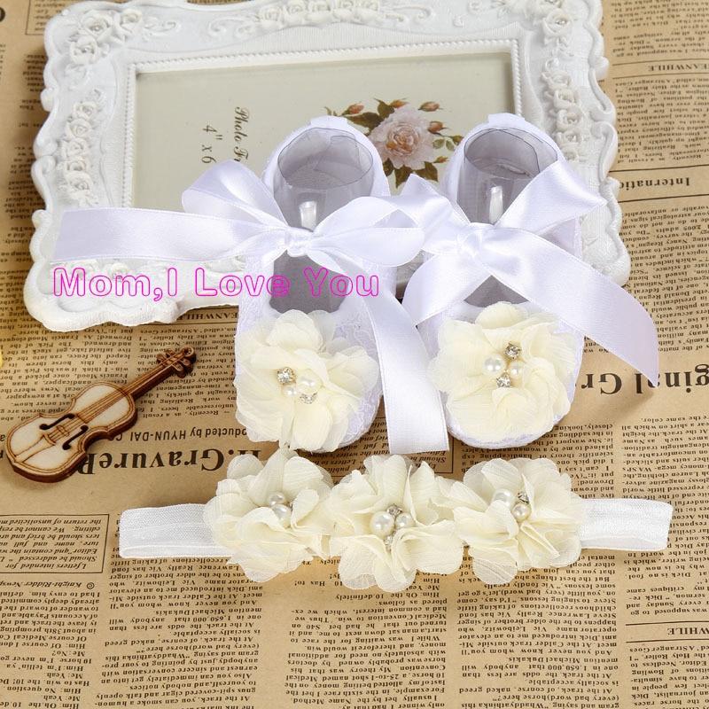 Rhinestone Newborn toddler mærke sko; Baby Girl mode sko Ivory Flower; fodtøj til babyer Spædbørn dør Sko