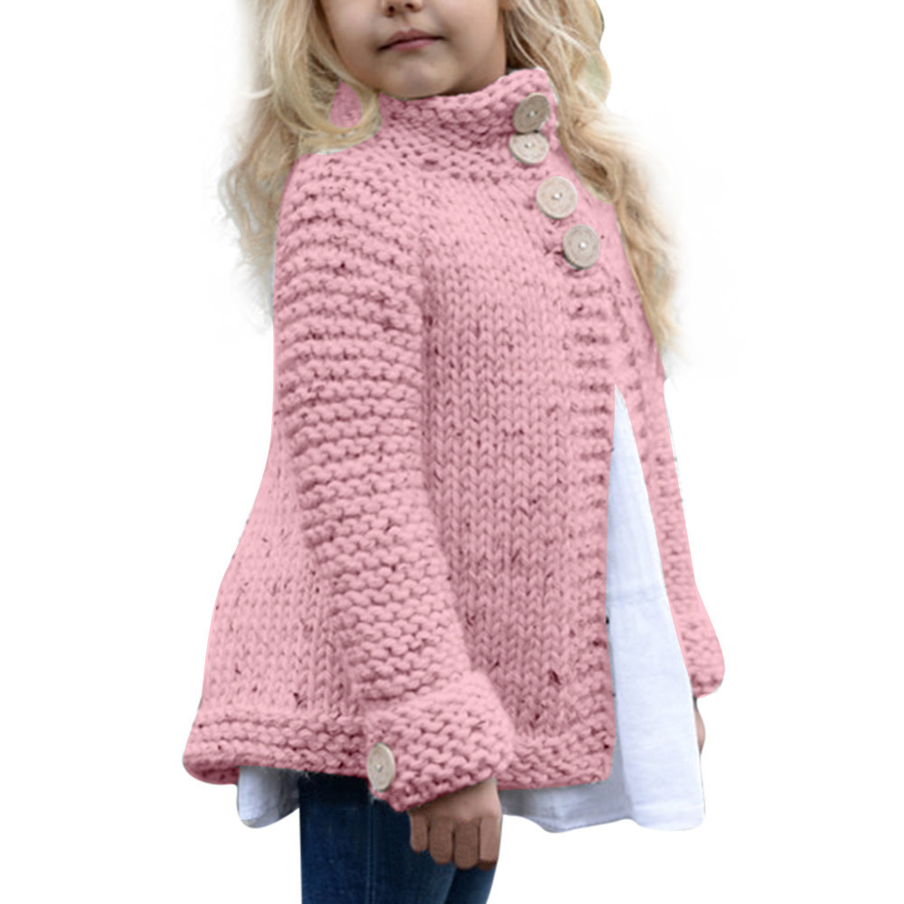 Hot sale Winter warm Toddler Kids Baby Girls Outfit Clothes Long sleeve Button Knitted Sweater Cardigan Coat Tops cute Pink