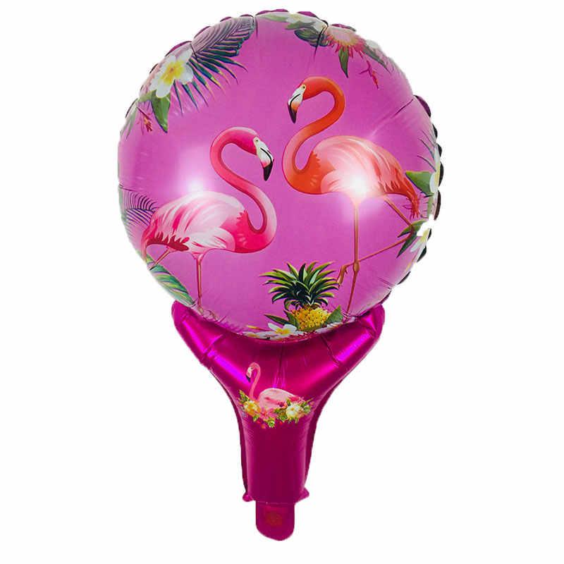 Nuevo 1psc flamenco palo de mano globos de aluminio niño juguete globo de aire cumpleaños boda decoración suministros