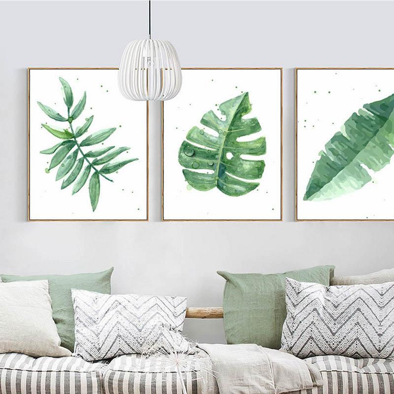 US $4 98 40% OFF|Customization Let You Live In Nature Pure And Fresh  Tropical Plants Watercolour Canvas Write Based Modern Simple Poster  Decor-in