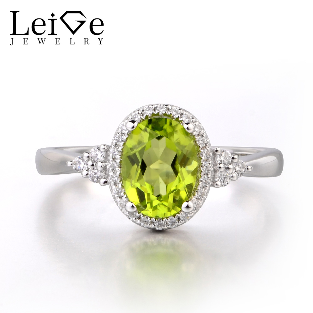 Leige Jewelry Natural Peridot Solid 925 Sterling Silver Ring Gemstone Birthstone Oval Cut Engagement Promise Ring for WomenLeige Jewelry Natural Peridot Solid 925 Sterling Silver Ring Gemstone Birthstone Oval Cut Engagement Promise Ring for Women
