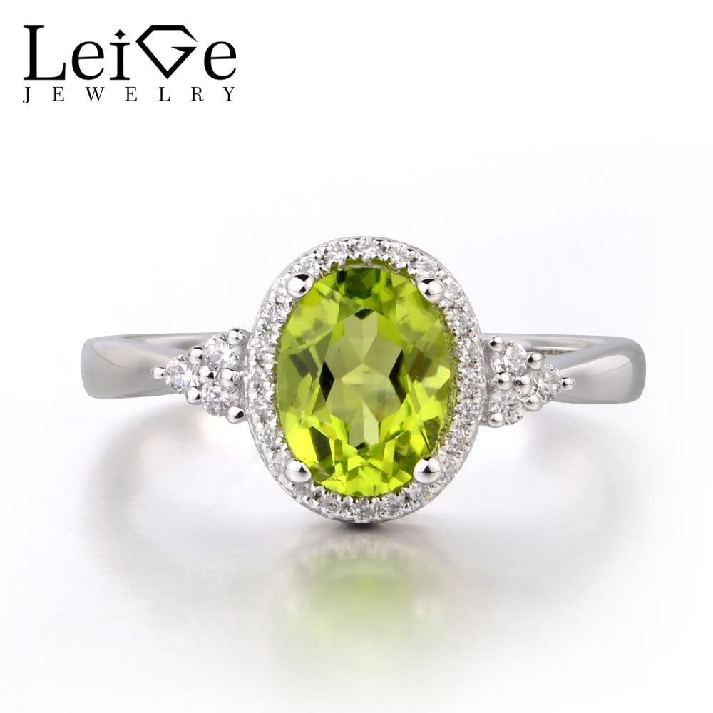 Здесь можно купить  Leige Jewelry Natural Peridot Solid 925 Sterling Silver Ring Gemstone Birthstone Oval Cut Engagement Promise Ring for Women  Ювелирные изделия и часы