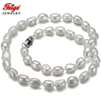 Feige Special Offer Gargantilla Baroque 7 8MM White Natural Freshwater Pearl Choker Necklace For Women S