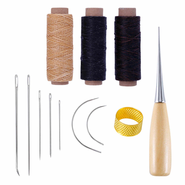 12 sztuk skórzane Craft szwy narzędzia zestaw z ręcznie igły do szycia szydło naparstek woskowana nić dla DIY galanterii skórzanej szycia