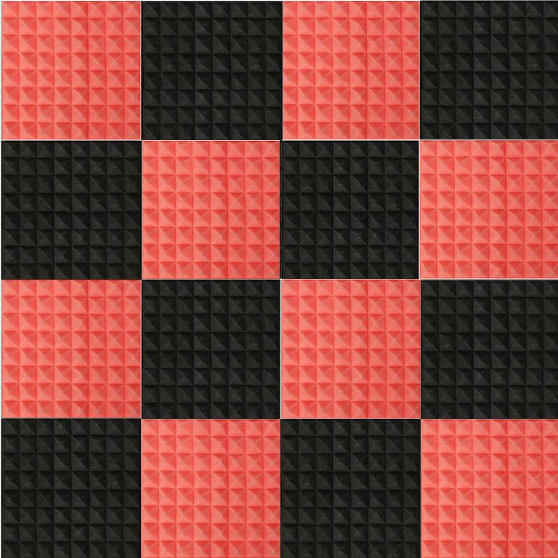 Nk Decoration 16pcs Set Black Red Acoustic Panels Soundproofing Studio Foam Treatment Sound Proofing Sound Insulation Decoration