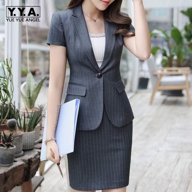 9c9306497b3 Formal Office Suit Women Short Sleeve Striped Blazer Skirt Two Piece  Uniform Set Business OL Outfits