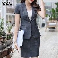 Formal Office Suit Women Short Sleeve Striped Blazer Skirt Two Piece Uniform Set Business OL Outfits Ensemble Jacket Skirts Suit
