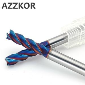 Image 2 - AZZKOR Fresa con recubrimiento de aleación, herramienta de acero de tungsteno, 100L/150L Hrc70, alargadora facial, fresas CNC