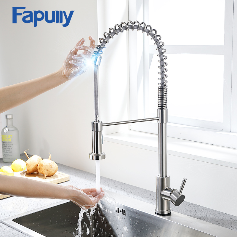 Fapully Kitchen Faucet Stainless Steel Touch Control Smart Sensor Kitchen Mixer Touch Faucet For Kitchen Pull Down Sink Tap 1055