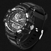 SANDA Fashion Mens Watches LED Waterproof Sports Military Watches Shock Resistant Quartz Digital Luxury Branded Wrist