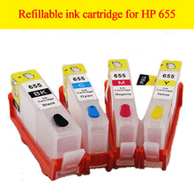 4pcs empty refillable ink cartridge 655XL for HP Deskjet Ink Advantage 3525/4615/4625/5525/6520/6625 for HP 655 655xl cartridge