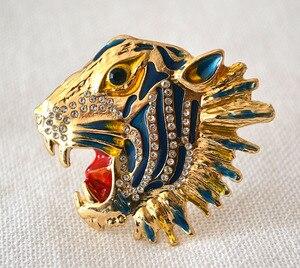 Image 1 - Женская брошь в форме головы тигра, 6 шт./лот