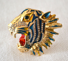 free shipping 6 pcs/ lot fashion jewelry accessories metal enamel tiger head brooches for women