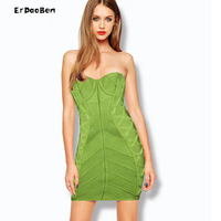 ERDAOBEN High Quality Autumn Strapless Dress Short Evening Dress Off Shoulder Green Color DR719