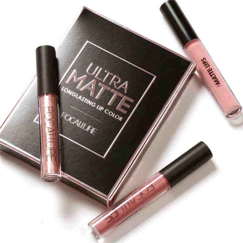 FOCALURE 3 Colori Sexy Liquido Opaco Rossetto Lip Vernice Rossetto Opaco Impermeabile di Lunga Durata Lip Gloss Labbra C