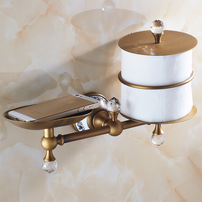 Europe Antique Standing Toilet Paper Holder Soap Dish Holder/ Phone Holder Brass Carved&Crystal Bathroom Accessories free shipping ba9105 bathroom accessories brass black bronze toilet paper holder