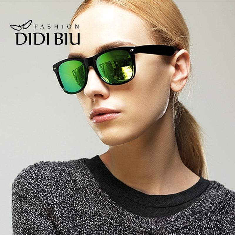 DIDI Square Reflective Mirror Sunglasses Women Men Brand Rivet ...