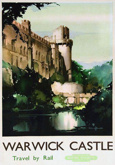 Vintage  British Rail Warwick Castle Railway Poster A4//A3//A2//A1 Print