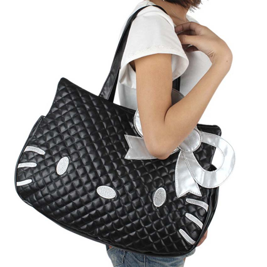 47b63c59ba32 2017 New Fashion Cute Hello Kitty Nappy Bag Big Black Cat Shoulder Diaper  Bag Women Leather Mummy Bag-in Diaper Bags from Mother   Kids on  Aliexpress.com ...