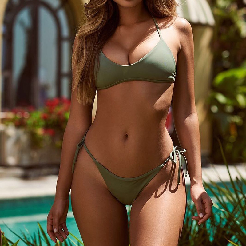 Bikinis Women 2018 Swimwear Thong Swimsuit Girls Sexy Bandage Swimming Suit Summer Swimsuit Female Halter Beach Bathing Suit 1