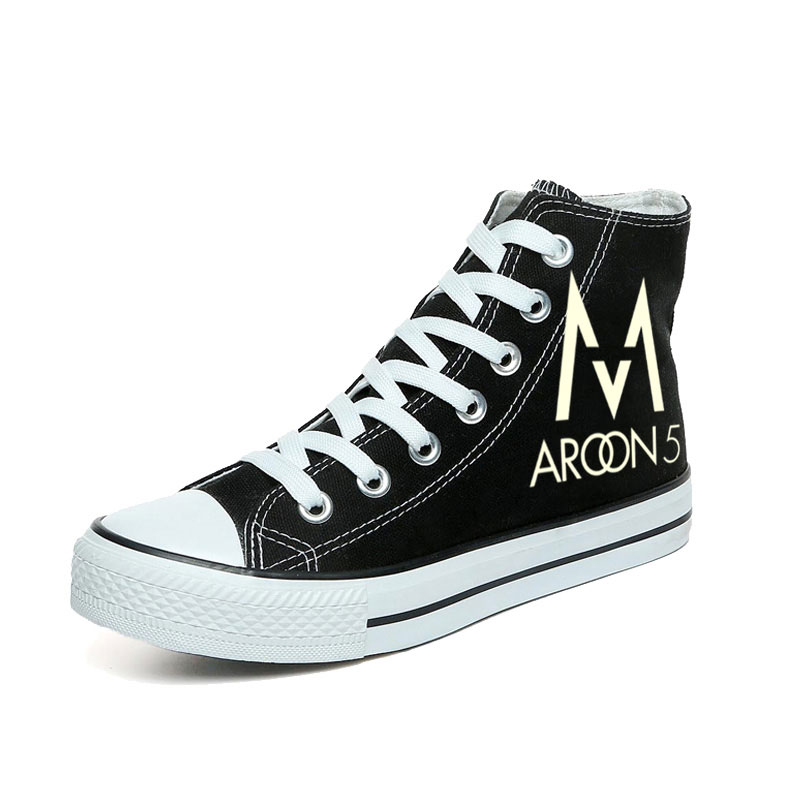 The Maroon 5 Shoes Fashion Women Casual Shoes Hand Painted Canvas Shoes Black High Top Sneakers Graffiti Shoes Glow in the Dark