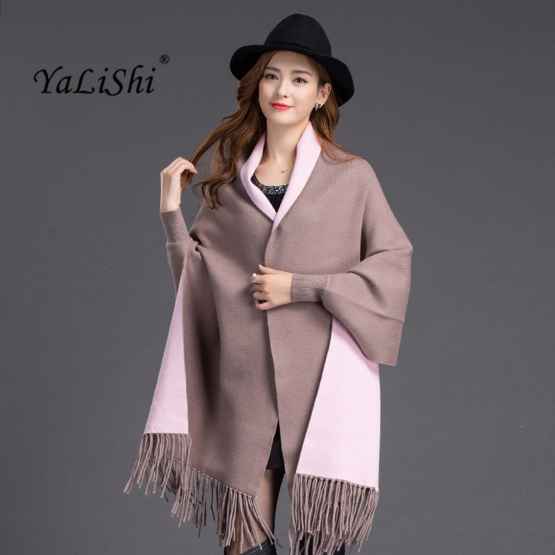 New 2017 Spring Fall Cardigan Women cashmere Tassels Poncho Batwing Sleeve Christmas Sweater Female Cardigan Knitted Coats