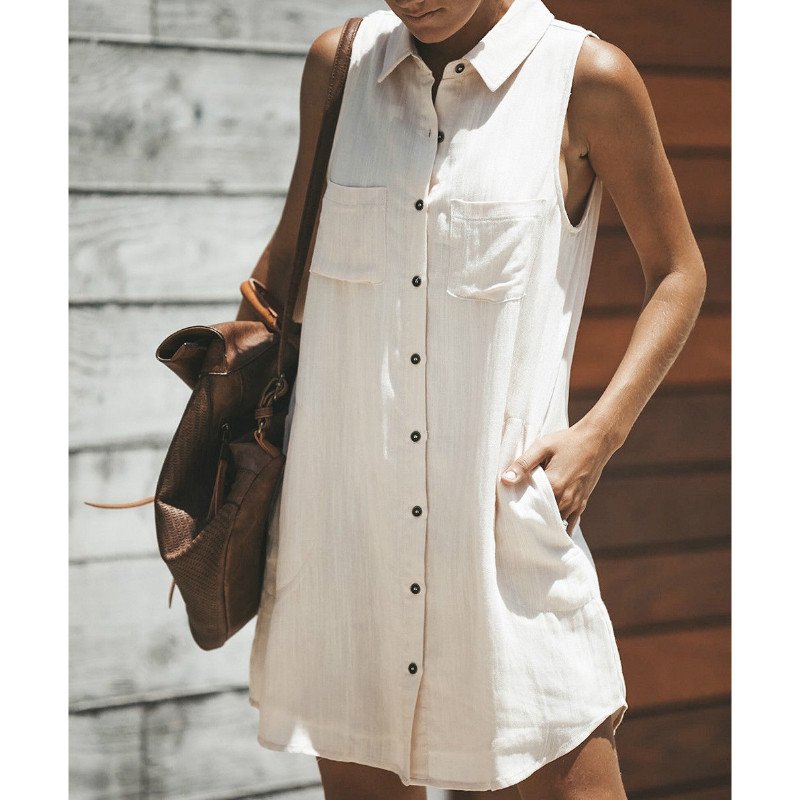 2018 Women Casual Summer Buttons Dress Sleeveless Shirt Dress Sundress Solid Beach Dresses