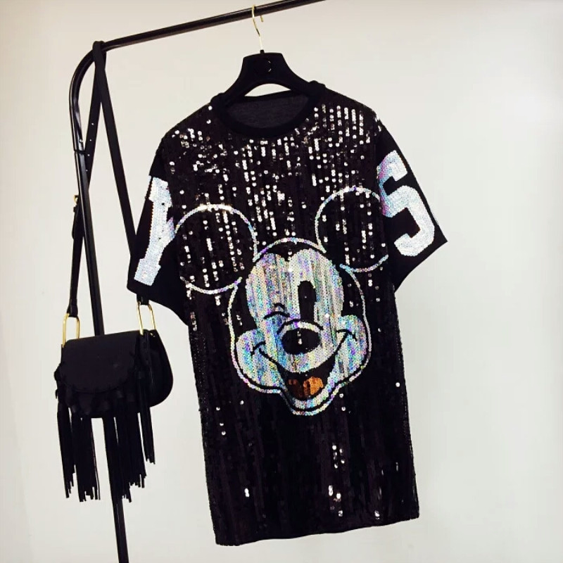 Runway Summer Women's Cartoon Print Sequined Short Sleeve Round Neck Loose Hip Hop Sexy Fashion Long T-shirt Tops