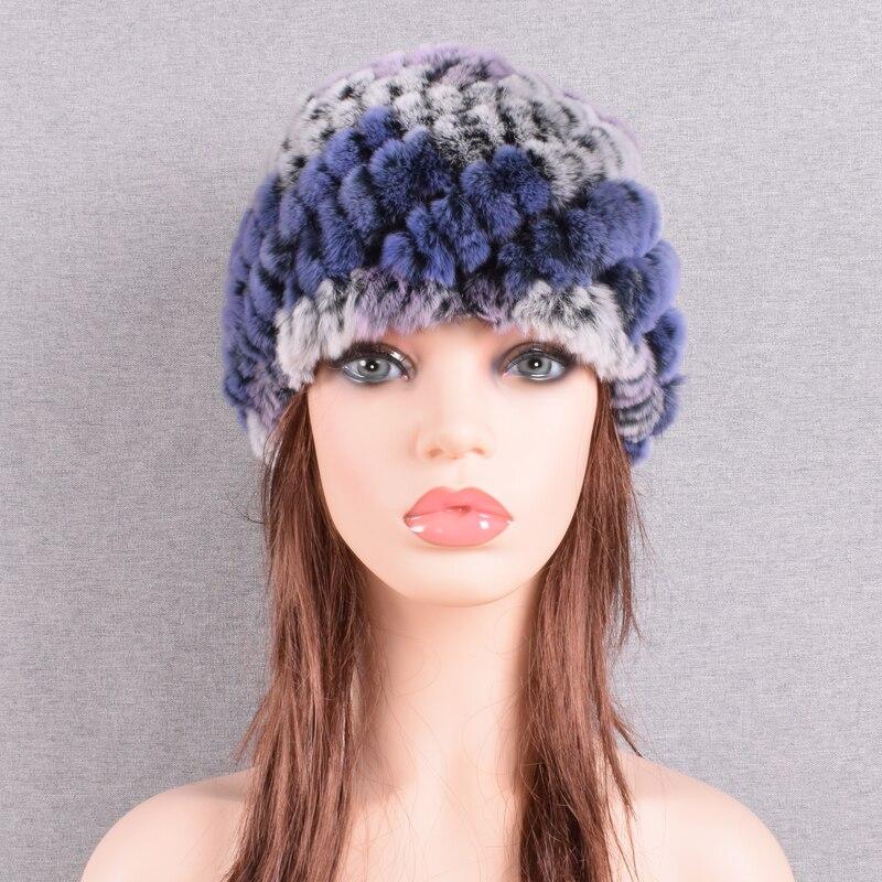 Raglaido Rabbit winter fur hat for Women Russian Real Fur Knitted Cap headgea Winter Warm Beanie Hats 2019 fashion brand LQ11279 42