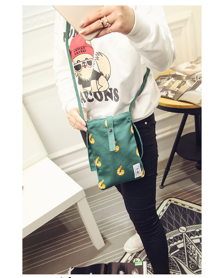 2017 New Fashion Japan style Women Single Shoulder Phone Bag Casual Cartoon Canvas Mini Girls Phone Bags & Cases Purse For youth