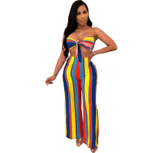 New womens hot sale sexy jumpsuit two-piece night club bow print striped sleeveless backless color