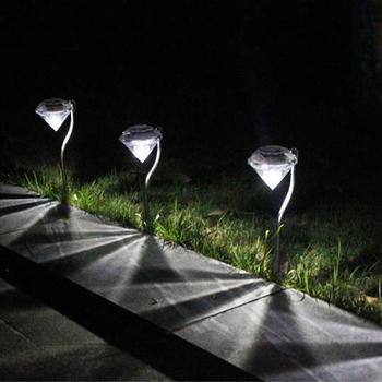 LED zasilany energią słoneczną ścieżka ogrodowa paliki latarnie lampy uliczne LED diamenty lampa trawnikowa lampa słoneczna ścieżka MDJ998 tanie i dobre opinie KISS-THE NIGHT Ip33 STAINLESS STEEL LED Solar Żarówki led Misja Trawnik lampy Przemysłowe Klin